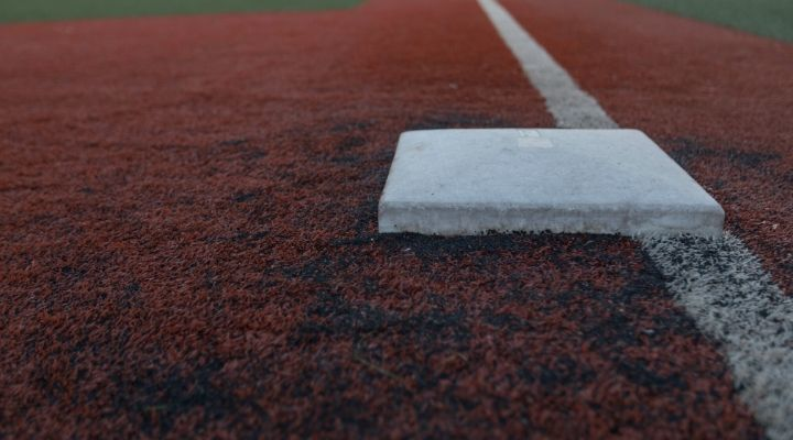 A view of third base down the line in a turf field